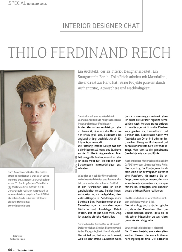 Thilo Reich Md Magazine Hotel Branding Interview On Recycled Interior Design For Hospitality Sector